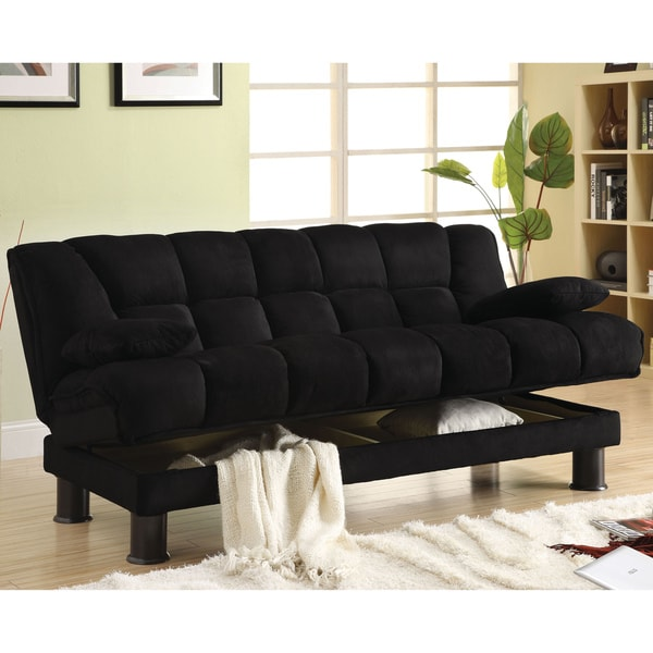 Furniture of America Black Elephant Skin Microfiber Futon Sofabed with Storage
