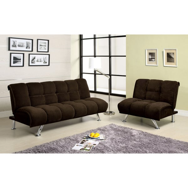 Furniture of America Maybeline Padded Corduroy 2-piece Futon Sofa Set