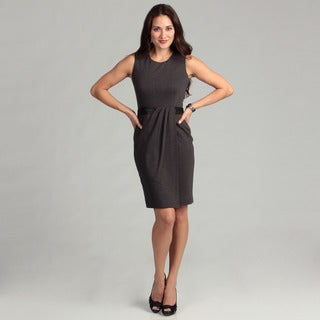 Calvin Klein Women's Charcoal Faux Leather Detail Dress
