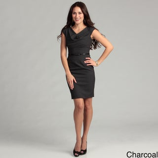 Calvin Klein Women's Drape Neck Belted Dress FINAL SALE