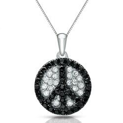 Auriya 14k White Gold 1/4ct TDW Diamond Peace Sign Necklace (G-H, I1-I2)