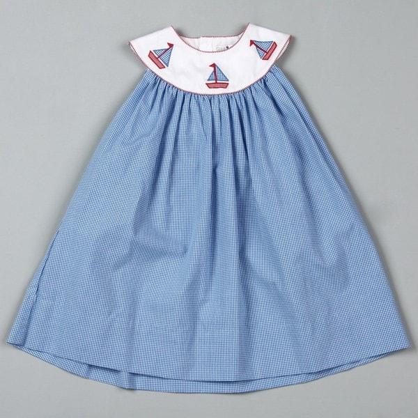 Petit Ami Toddler Girl's Blue Sailboat Dress