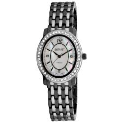 Black-and-Silver August Steiner Women's Dazzling Diamond Oval Bracelet Watch