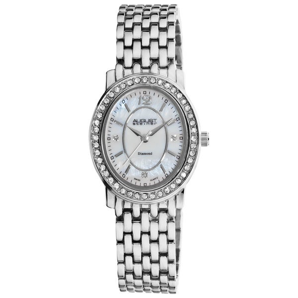 August Steiner Women's Dazzling Diamond Silver Oval Bracelet Watch