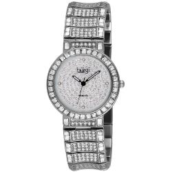 Burgi Women's Stainless Steel Diamond Baguette Quartz Watch