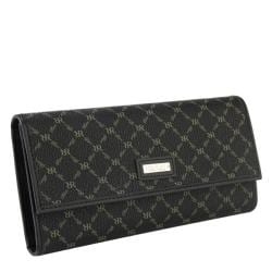 Rioni Signature Black Leather Checkbook Wallet