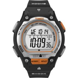 Timex Men's T5K582 Ironman Traditional Shock 30-Lap Black/Silvertone/Orange Watch