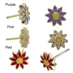 18k Gold Overlay Children's Colored Enamel Flower Stud Earrings
