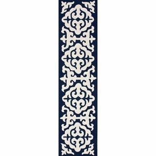 nuLOOM Handmade Marrakesh Navy Wool Runner (2'6 x 10')