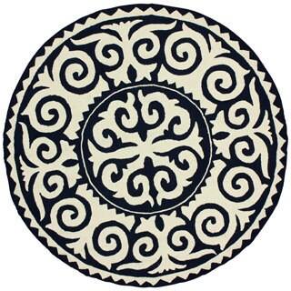 nuLOOM Handmade Marrakesh Fez Navy Wool Rug (6' Round)