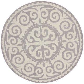 nuLOOM Handmade Marrakesh Fez Grey Wool Rug (6' Round)