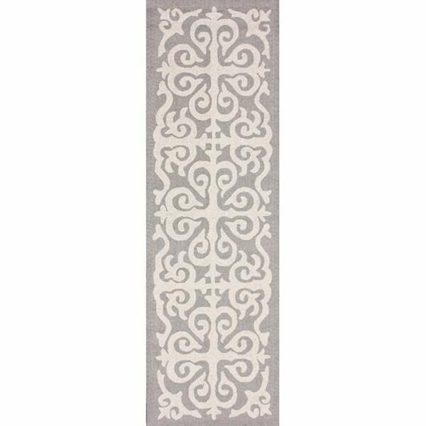 nuLOOM Handmade Marrakesh Fez Grey Wool Runner (2'6 x 10')