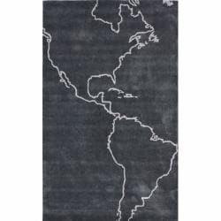 nuLOOM Handmade Kids Map Grey Rug (5' x 8')