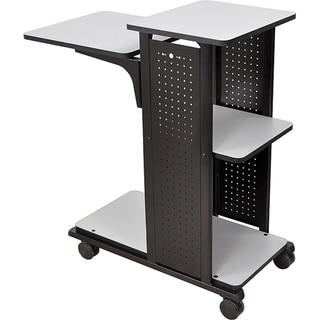 H.Wilson Grey/Black 4-Shelf Mobile Presentation Station