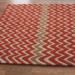 nuLOOM Handmade Chevron Ivory Wool Rug (5' x 8')