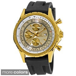 Joshua & Sons Men's Multifunction Rubber-Strap Stainless Steel Watch