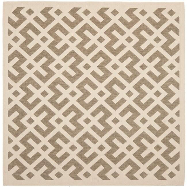 Safavieh Poolside Brown/ Bone Indoor Outdoor Rug (6'7 Square)