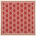 Poolside Red/ Bone Indoor Outdoor Rug (6'7 Square)