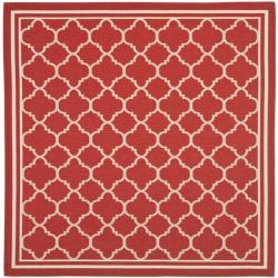 Safavieh Poolside Red/Bone Indoor/Outdoor Polypropylene Rug (6'7 Square)
