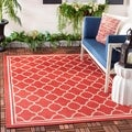Safavieh Poolside Red/Bone Indoor/Outdoor Polypropylene Rug (6'7 Square)