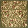 Lyndhurst Collection Floral Sage Rug (7' Square)