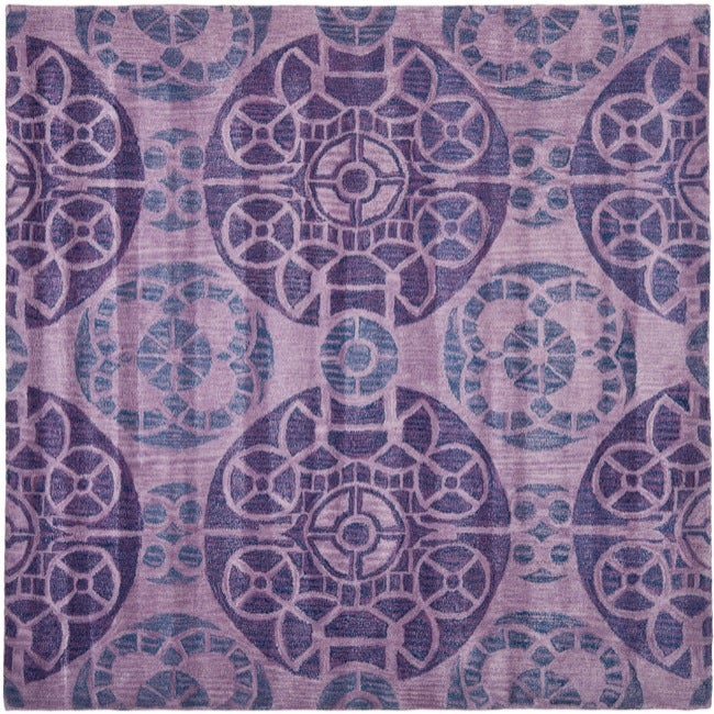 Safavieh Handmade Treasures Purple New Zealand Wool Rug (7' Square)