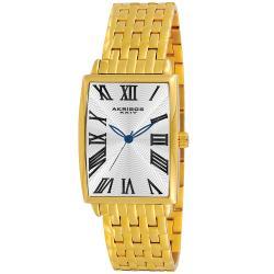 Akribos XXIV Men's Stainless Steel Rectangle Quartz Bracelet Watch