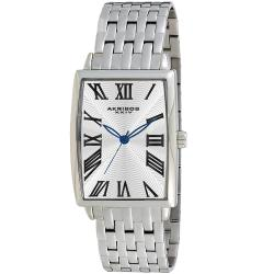 Akribos XXIV Men's Stainless Steel Rectangle Quartz Bracelet Watch with Blue Hands
