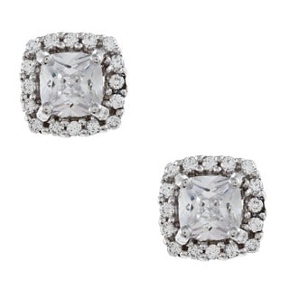 Sterling Silver Clear Cubic Zirconia Stud Earrings