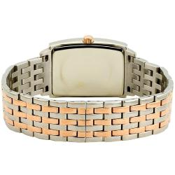 Akribos XXIV Men's Rose-Tone Stainless-Steel Rectangle Quartz Bracelet Watch