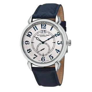 Stuhrling Original Men's Eternity Swiss Quartz Blue Leather Strap Watch