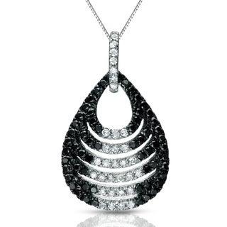 Auriya 14k White Gold 1/2ct TDW Black and White Diamond Necklace (G-H, I1-I2)