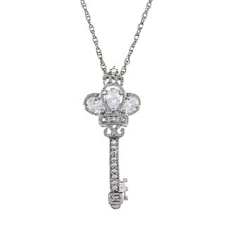 Sterling Silver Clear Cubic Zirconia Crown Key Necklace