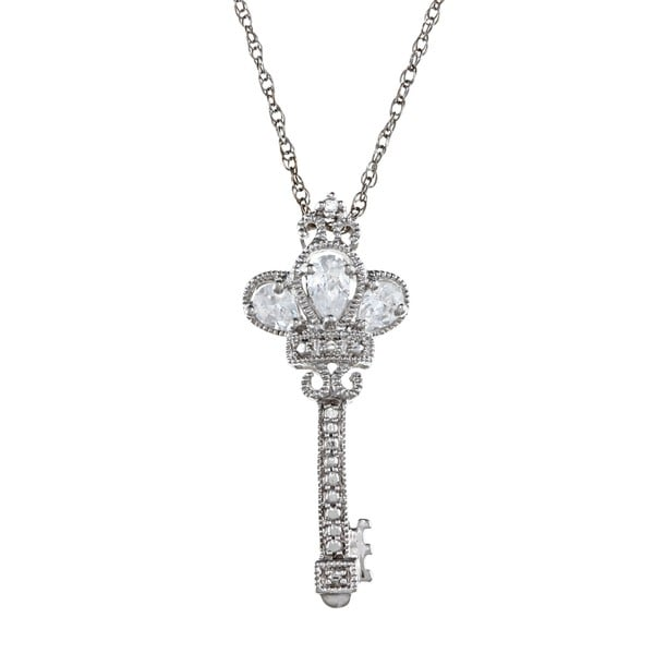 Gioelli Sterling Silver Clear Cubic Zirconia Crown Key Necklace