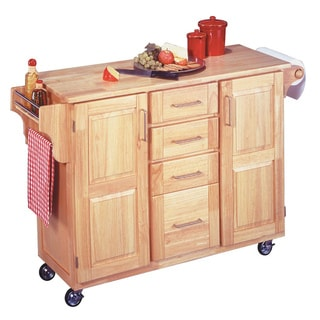 Breakfast Bar Kitchen Cart with Natural Wood Top