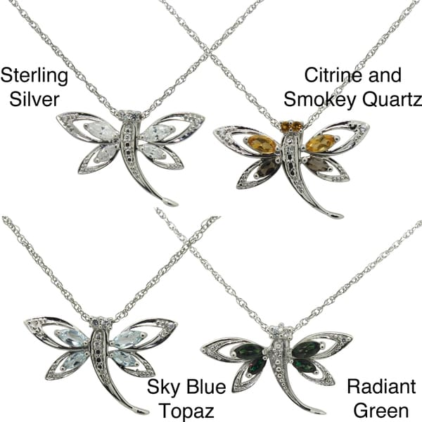 Gioelli High-polish Sterling Silver Dragonfly Pendant and Rope-chain Necklace