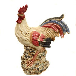 Hand-Painted Ceramic Perched Rooster Figurine