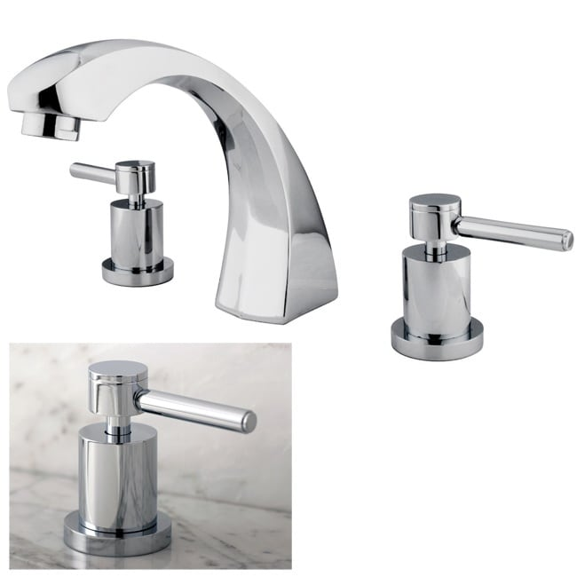 Curved Chrome Roman Tub Filler Faucet