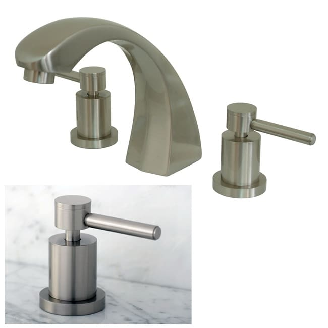Three-Hole Satin-Nickel Roman Tub Filler Faucet