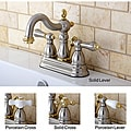 Victorian High Spout Satin Nickel/ Polished Brass Bathroom Faucet