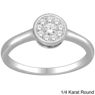 De Couer 10k White Gold 1/4ct TDW Round or Square Stackable Diamond Ring