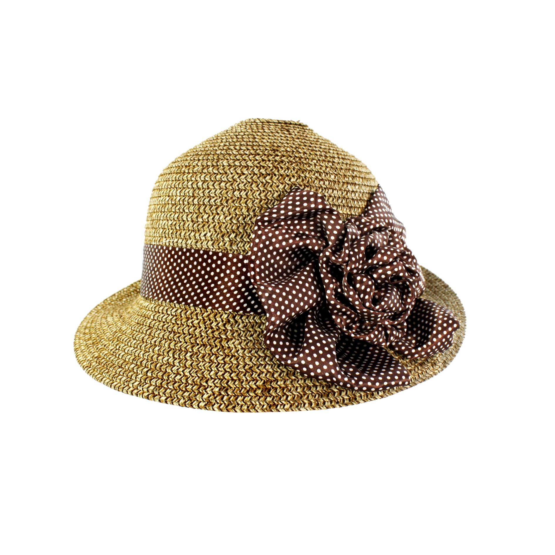 Faddism Women's Tan Straw Rosette Sun Hat