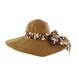 Faddism Women's Brown Bowed Straw Sun Hat