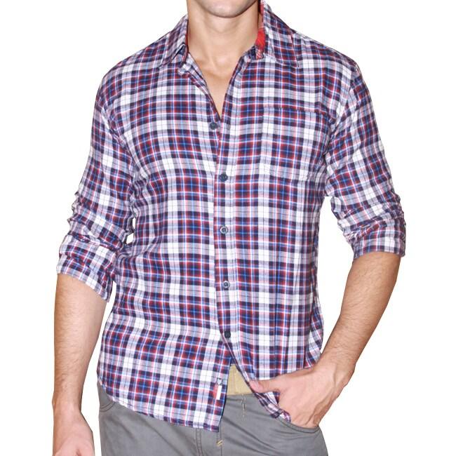 191 Unlimited Men's Blue Plaid Cotton Flannel Shirt