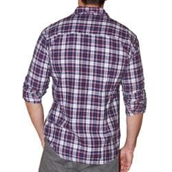 191 Unlimited Men's Blue Plaid Cotton Flannel Shirt