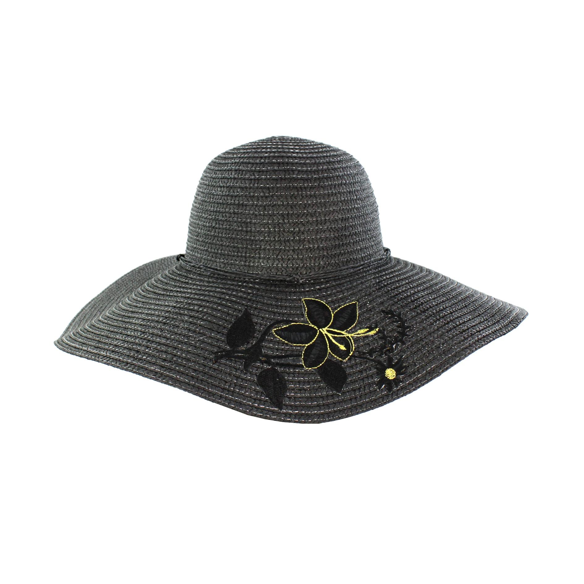 Faddism Women's Black Flower Straw Sun Hat