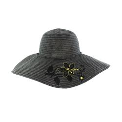 Faddism Women's Black Flower Straw Sun Hat