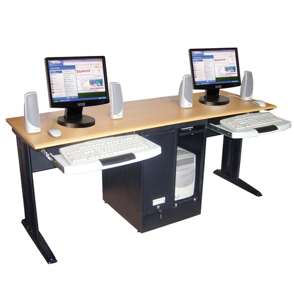 Luxor Black Two Person Desk - 14194986 - Overstock.com Shopping - The