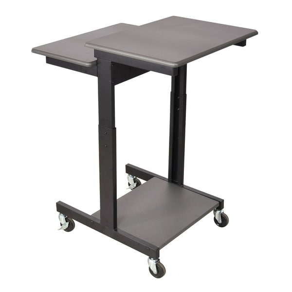 Luxor Gray Adjustable-height Wheeled Steel Computer Workstation