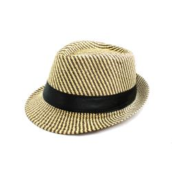 Faddism Unisex Beige/ Brown Woven Fedora Hat